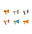 hand speaker icon set flat style vector image vector image