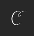 Handwritten letter C logo monogram of fine lines vector image vector image
