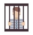 jail inmate behind bars icon vector image