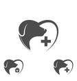 logo dog in heart dog logo abstract design vector image