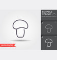 mushroom line icon with editable stroke with vector image vector image