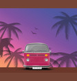 retro travel bus pink surf van way to the ocean vector image
