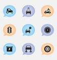 set 9 editable transport icons includes vector image