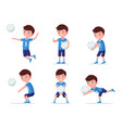 set boy volleyball player in various poses vector image vector image