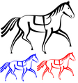 set horses outlines collection vector image