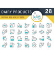set line icons dairy products vector image vector image