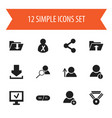 set of 12 editable web icons includes symbols vector image vector image