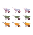 Set of grey green yellow wheelbarrows vector image vector image