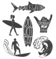 set surfing vintage design elements surf logo vector image