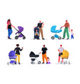 set young fathers walking outdoor with children in vector image