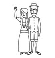 swiss in national dress man and woman in vector image