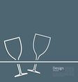 two wineglass wedding invitation card vector image