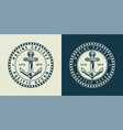vintage monochrome nautical round logo concept vector image vector image