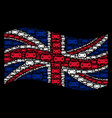 waving united kingdom flag collage of car icons vector image