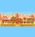 western american town in desert landscape cartoon vector image vector image