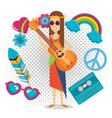 woman hippie with guitar lifestyle character vector image