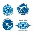 Aircraft logo emblems set vector image