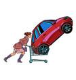 a woman bought a car vector image vector image