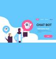 arabic couple man woman chatbot robot vector image vector image