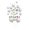 back to school with a lot of flying white balloons vector image vector image