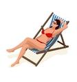 Beautiful woman in white bikini lying on a sun vector image