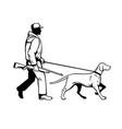 bird hunter and hungarian pointer dog walking vector image vector image