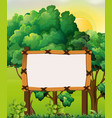border template with forest background vector image vector image