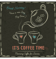 Brown blackboard with a two cup of hot coffee vector image