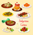 bulgarian meat dishes and cheese dessert icon vector image vector image