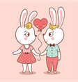 bunny love card vector image