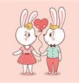 bunny love card vector image vector image