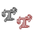 Capital letter T in retro style vector image vector image