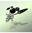Carrot Mandarin Apple icons Black silhouette with vector image