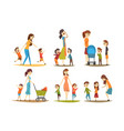 cartoon character set young mothers with kids vector image vector image