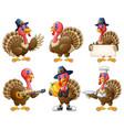 cartoon turkey mascot set vector image