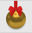 christmas ball with ribbon and a bow isolated on vector image