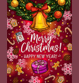 christmas wreath with bell sketch poster design vector image