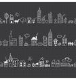 Cityscape seamless borders vector image