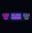 click nere neon text click nere neon sign vector image