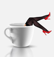 coffee cup with legs vector image vector image
