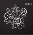 cogs - gears set on dark background cog gear vector image vector image