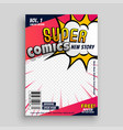 comic book cover design template vector image vector image
