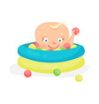 cute cartoon baby playing in a pool with colorful vector image vector image