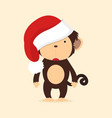 cute monkey with hat christmas vector image vector image