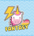cute patches unicorn heart love fantasy badge vector image vector image