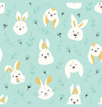 easter seamless pattern with cute smiling rabbits vector image