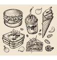 fast food hand drawn hamburger burger coffee vector image vector image