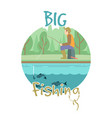 fishing concept with fisher man vector image vector image