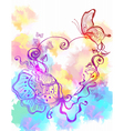 floral watercolor heart vector image