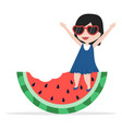 girl sit on watermelon bite vector image